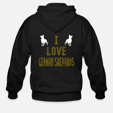 Germany I Love German Shepards Retro Tshirt - Men's Zip Hoodie