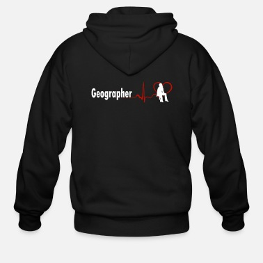 Geographic GOOD GEOGRAPHER HEARTBEAT DESIGN - Men's Zip Hoodie