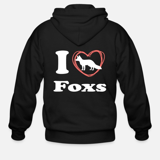 Animal Rights Activists Hoodies & Sweatshirts - I Love Foxs - Men's Zip Hoodie black