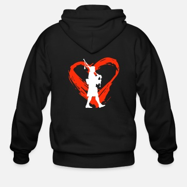 Silhouette A Heart For Bagpipe - Men's Zip Hoodie