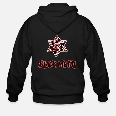 Hexagon Black Metal rock music dark - Men's Zip Hoodie