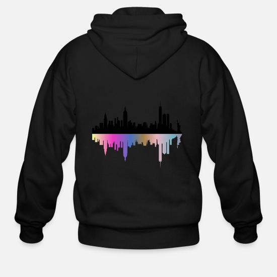 Reflection Hoodies & Sweatshirts - City Skyline Reflection - Men's Zip Hoodie black