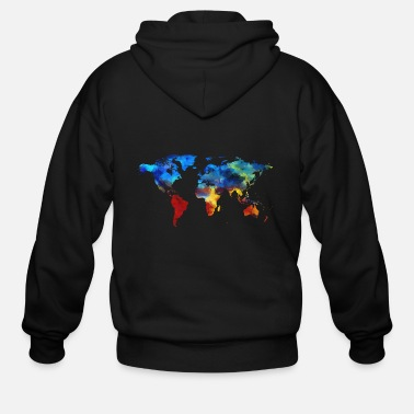Map Colourful World Map - Men's Zip Hoodie