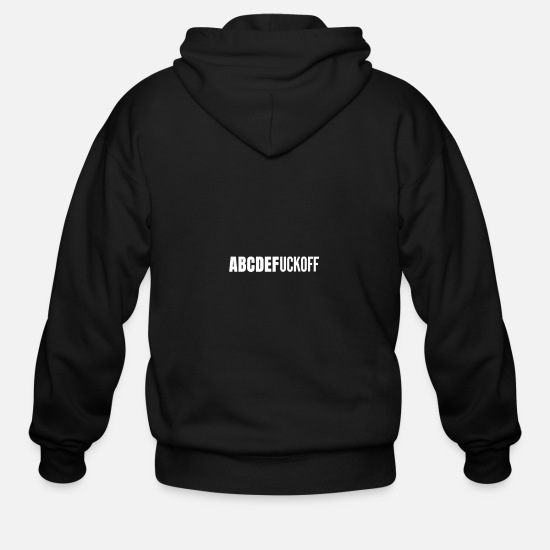 Finger Hoodies & Sweatshirts - ABCDEFU Fuck Off You Funny Sarcastic Gift Idea - Men's Zip Hoodie black