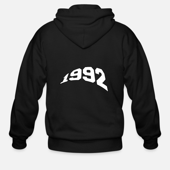 Birthday Hoodies & Sweatshirts - Vintage 1992 Year of birth Birthday gift - Men's Zip Hoodie black
