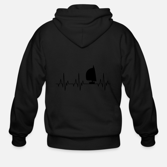 Sailboat Hoodies & Sweatshirts - Heartbeat Sailing Sailboat Water Sports - Men's Zip Hoodie black