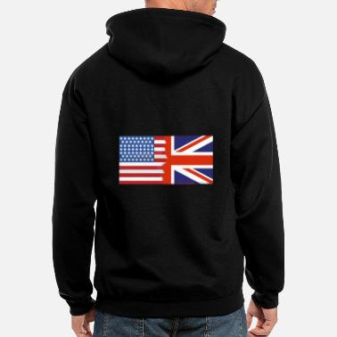 Nottingham Flag Half Uk Half USA Flags - Men's Zip Hoodie