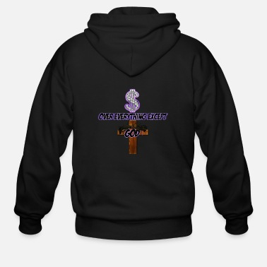 Lilac Money Over Everything-Lilac - Men's Zip Hoodie