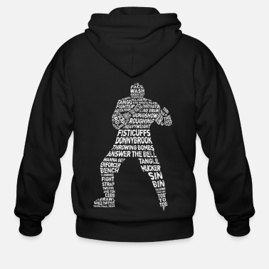 Typography Hockey Enforcer Calligram - Men's Zip Hoodie