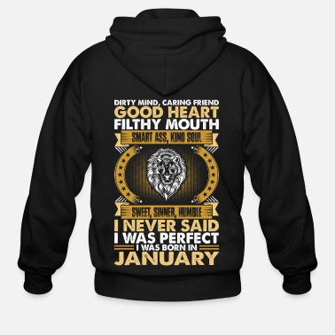 Horoscope Good Heart Smart Ass Leo Born In January Tshirt - Men's Zip Hoodie