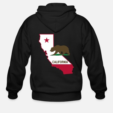 State CALIFORNIA STATE WITH STATE BEAR - Men's Zip Hoodie