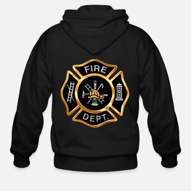 Fire Gold Firefighter Emblem - Men's Zip Hoodie