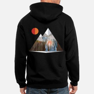 Mountains Bear Sun Salute in Mountain Forest - Men's Zip Hoodie