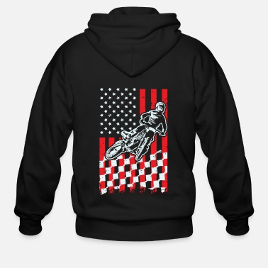 Checkered Flag Motocross Checkered American Flag - Men's Zip Hoodie