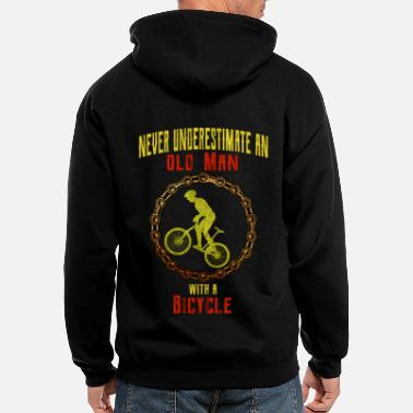 Bike Bicycle cyclist old man bicycle chain bike - Men's Zip Hoodie