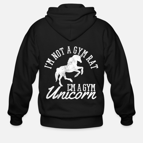 Strong Hoodies & Sweatshirts - Gym Unicorn - Funny Fitness Bodybuilding Gift - Men's Zip Hoodie black