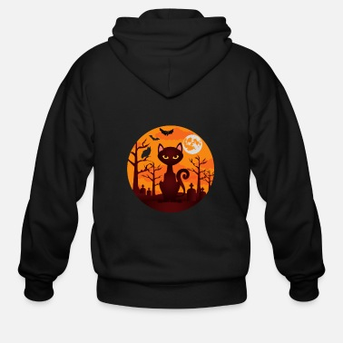 Cats and Moon Illustration Rooftop,Men//Womens Warm Outerwear Jackets and Hoodies Moon S