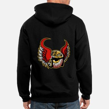 Armed Cool Comic Eye with Wings - Men's Zip Hoodie