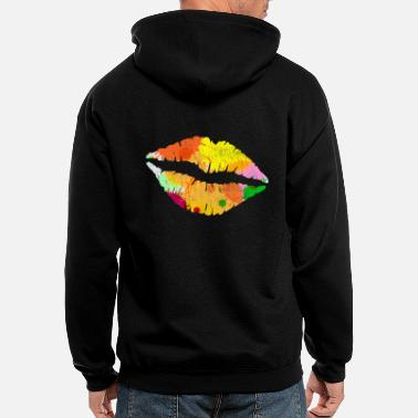 Bright Bright Colorful Paint Splatter Lips Kiss Mark - Men's Zip Hoodie