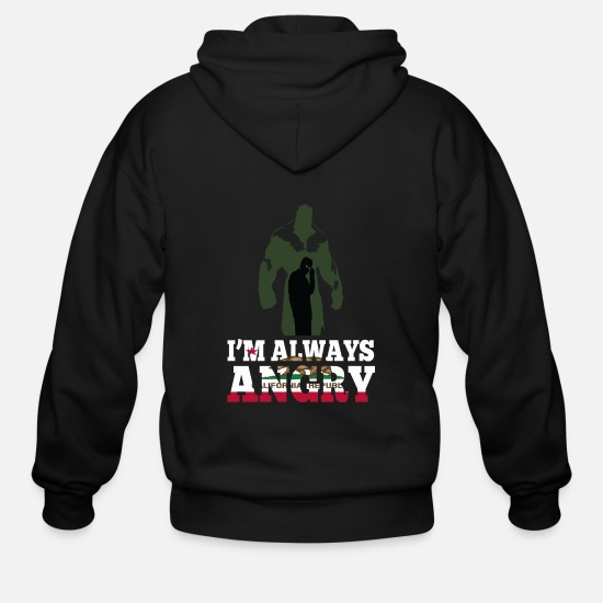 California Hoodies & Sweatshirts - California republic - I'm always angry - Men's Zip Hoodie black