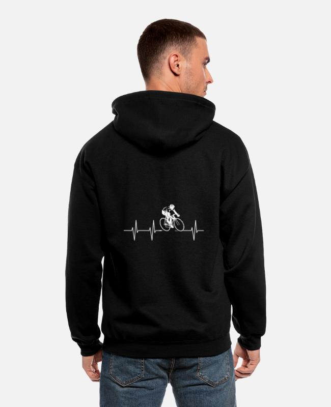 Heart Rate Hoodies & Sweatshirts - Heart Rate Bicycle Ride Sports - Men's Zip Hoodie black