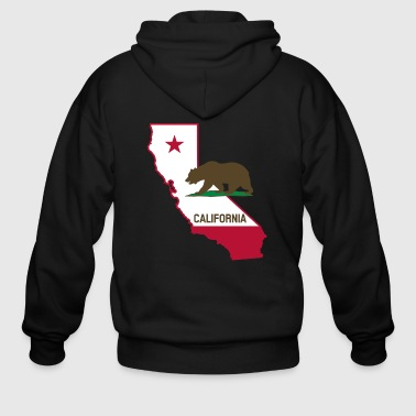 CALIFORNIA STATE WITH STATE BEAR - Men's Zip Hoodie