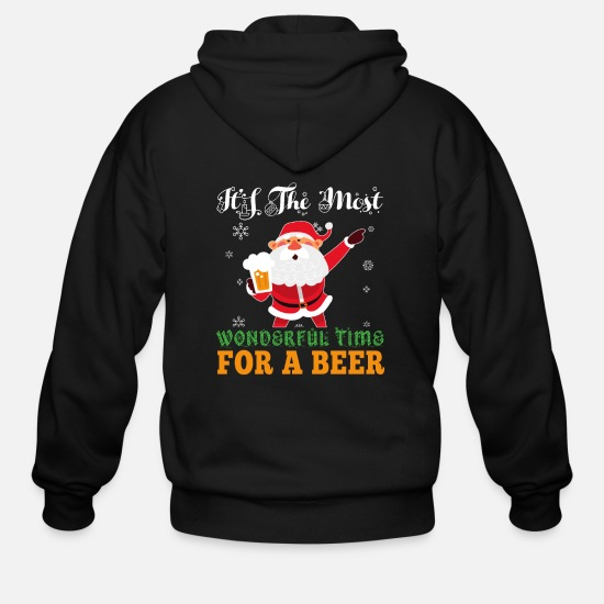 Beer Hoodies & Sweatshirts - Sarcastic Santa Wonderful Time for a Beer - Men's Zip Hoodie black