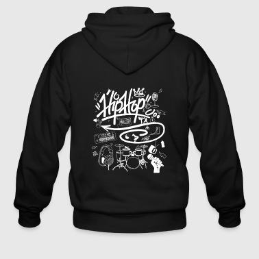 Hip hop - i love hip hop music graffiti street - Men's Zip Hoodie