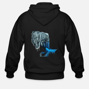 Blue Hue Graffiti Elephant Glowing Trunk/Blue - Men's Zip Hoodie