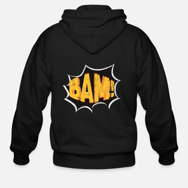 Hero Super Hero Comic Book Onomatopoeia. Bam! - Men's Zip Hoodie