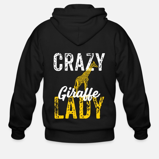 Giraffe Hoodies & Sweatshirts - Crazy Giraffe Lady, Horse Lover - Men's Zip Hoodie black