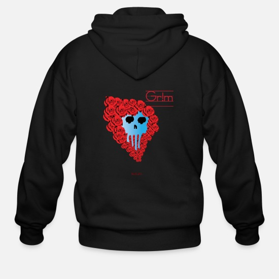 Love Hoodies & Sweatshirts - Rose Skull Punk - Men's Zip Hoodie black