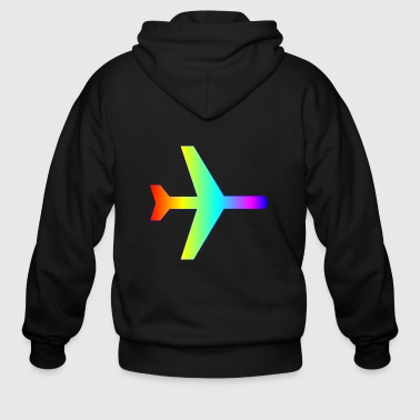 Airplane rainbow flugzeug aeroplane airport flugha - Men's Zip Hoodie
