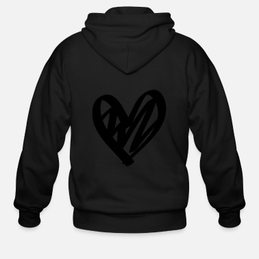 Lovely Hand drawn comic heart -love lover girlfriend cute - Men's Zip Hoodie