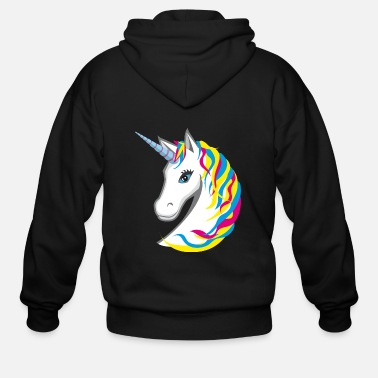 Bright Colors Unicorn colorful bright neon - Men's Zip Hoodie