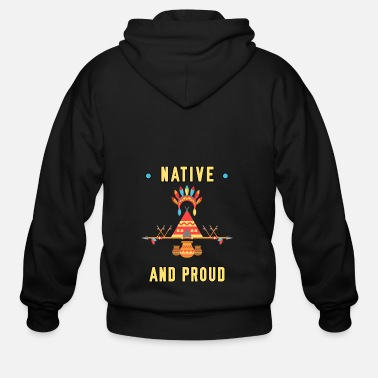 Indigenous Native and Proud Bright Happy Men Women Youth Tee - Men's Zip Hoodie