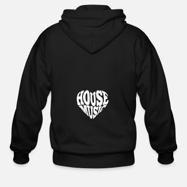 Deejay House Music Heart gift for Deejays - Men's Zip Hoodie