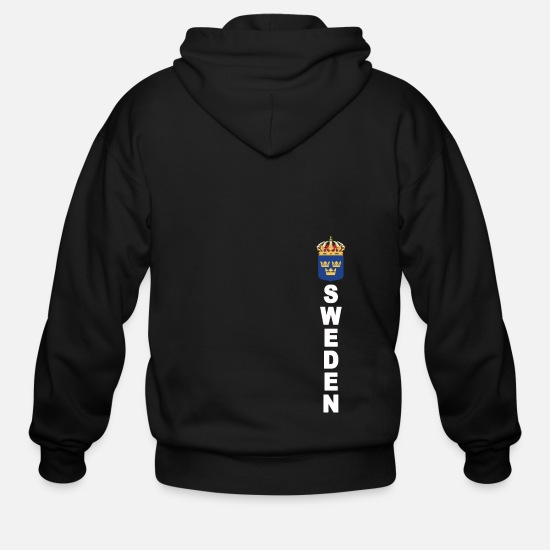 Sweden Hoodies & Sweatshirts - Sweden Vertical Text Sport Jersey Style - Men's Zip Hoodie black