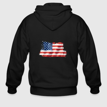 Blurred US Flag - Men's Zip Hoodie