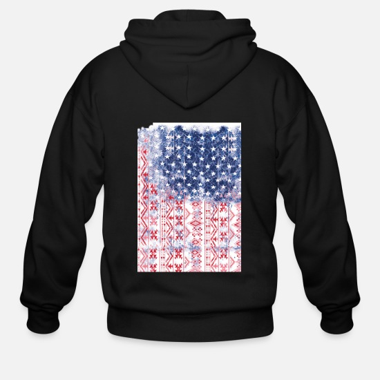 Flag Hoodies & Sweatshirts - American ethnic flag - Men's Zip Hoodie black
