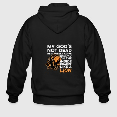 Proud Christian Saying Gift Shirt Lion Men Women - Men's Zip Hoodie