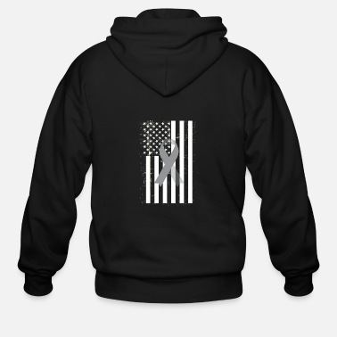 Brain Brain Cancer Awareness USA Flag Gray Ribbon - Men's Zip Hoodie