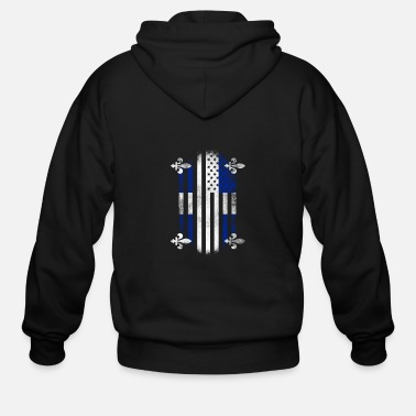 Quebec Quebecois American Flag Quebec Canada and USA Design - Men's Zip Hoodie