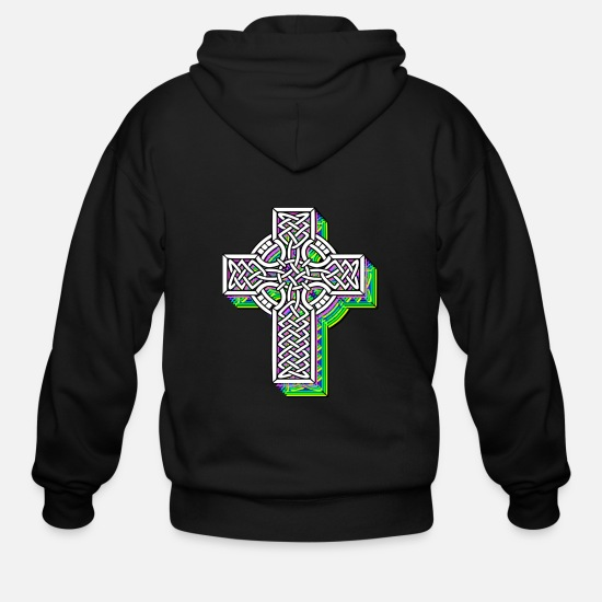 Celtic Hoodies & Sweatshirts - Cross celtic knots - Men's Zip Hoodie black