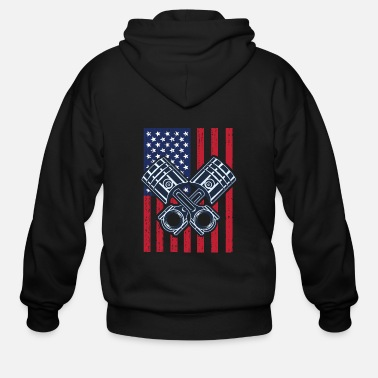 Piston Drag Racing Flag Pistons USA Flag - Men's Zip Hoodie