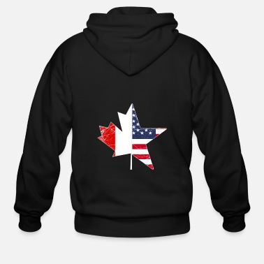 Usa USA Canada Flag Maple Leaf Gift Idea Nation - Men's Zip Hoodie