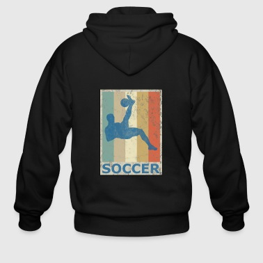 Retro Vintage Style Soccer Player Sports Game - Men's Zip Hoodie