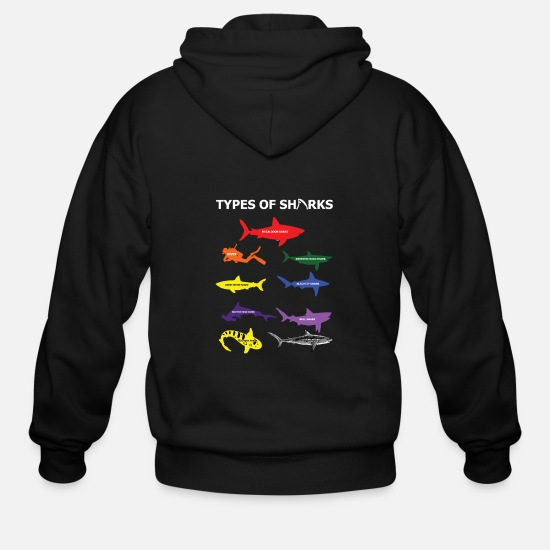 Shark Hoodies & Sweatshirts - Type Of Sharks - Men's Zip Hoodie black