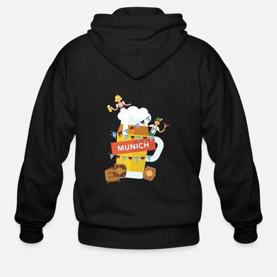 Lederhosen Hoodies & Sweatshirts - Munich Beer and Oktoberfest Shirt - Men's Zip Hoodie black