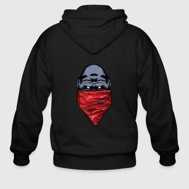 Gangsta Gorilla Gangster Ape wearing a Red Bandanna - Men's Zip Hoodie